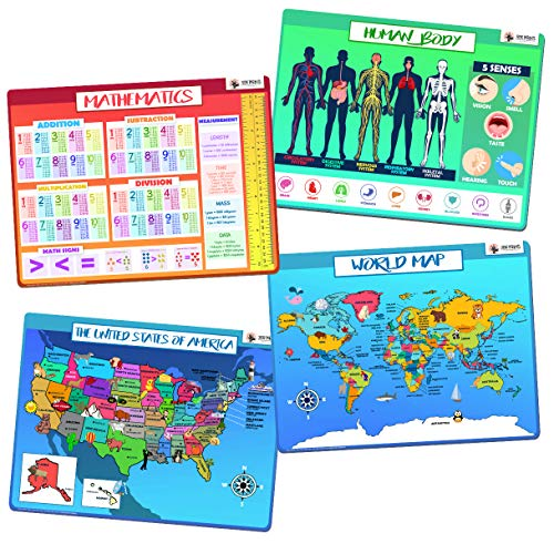 XOXO Parents Kids Placemats - Learning Resources and Homeschool Supplies, Making Meal Time More Fun and Educational - Food Grade, BBA Free, Anti Slip and Easy to Clean