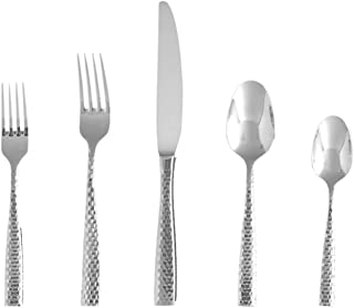 Fortessa Lucca Faceted 18/10 Stainless Steel Flatware, 20 Piece Place Setting, Service for 4