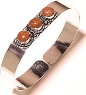 Fantasy! Handmade Jewelry! Golden Sunstone Sterling Silver Overla Bangle/Bracelet Free Size