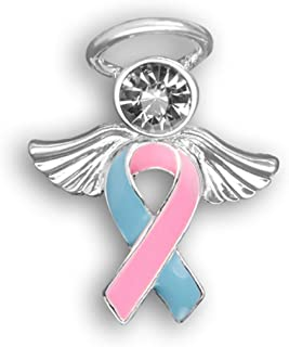 Fundraising For A Cause Pink and Blue Ribbon Pin in a Gift Box - Angel Tac