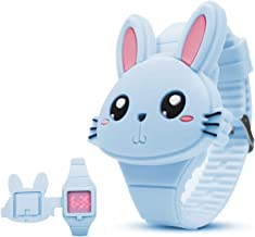 Orologio Bambina, Orologio Bambino da Polso, Cinturino in Morbido Silicone Forma di Coniglio Flip-Cover Orologio Digitale Bambino (Blu).