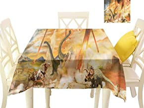Davishouse Easy Care Tablecloth Dinosaurs Meteorite Crash Waterproof/Oil-Proof/Spill-Proof Tabletop Protector W50 x L50