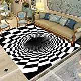 Area Rug 3D Rectangle Carpet Geometric Printed Mat Optical Illusion Floor Mat Anti-Skid Machine Washable Area Rugs for Indoor Home Living Room Dorm 3D Rug