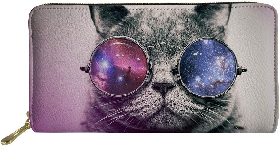 FancyPrint Trippy Cat with Galaxy Pattern Long Wallet Zi All items Dealing full price reduction in the store Glasses