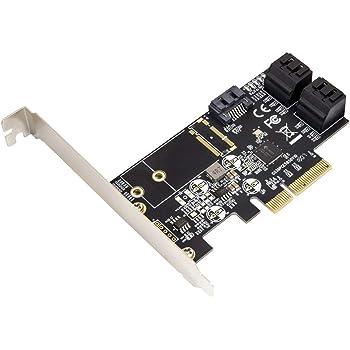 JMB585 Chipset Internal 5 Port Non-Raid SATA III 6GB//s M.2 B+M Key Adapter Card for Desktop PC Support SSD and HDD