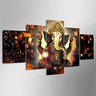 لوحة فنية جدارية على قماش رسم فيل له، صور على نمط الرب غانيشا كوادروس، لوحات ديكورية حديثة