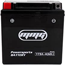 MMG YT9A-4 Gel Cell Powersports Battery, Factory Sealed, High Performance Powersports, Compatible with YB9-B, YT9A-BS, 12N9-AB, YT9A