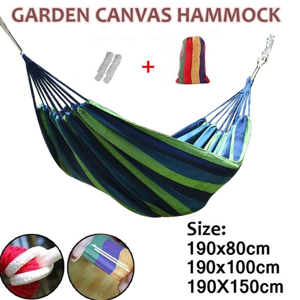 Portable Outdoor Garden Yard Canvas Hammock Camping Sleeping Swing Hanging Bed