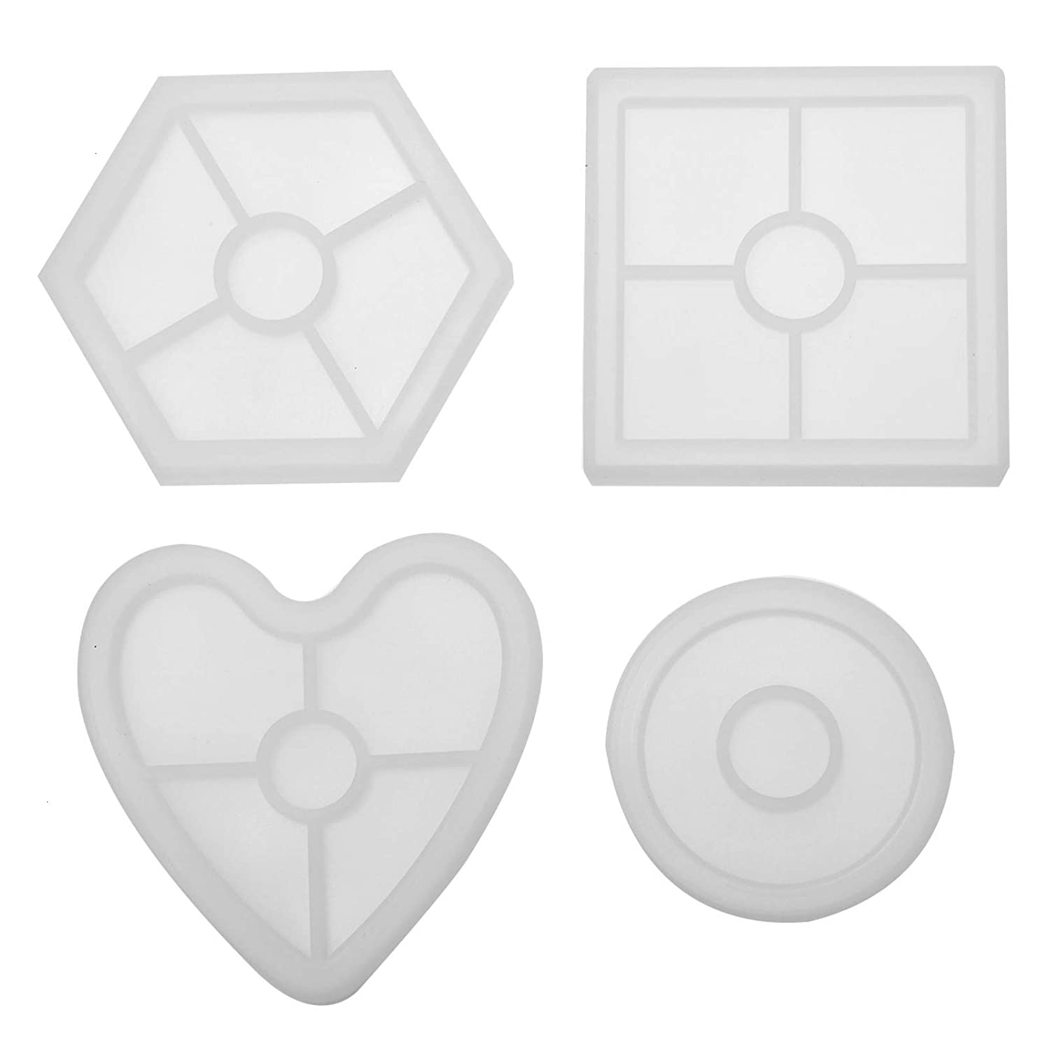 Timoo 4 Pcs Silicone Coaster Molds, Epoxy Resin Casting Molds for DIY Coasters, Craft Project (Round, Hexagon, Square, Heart Shape)