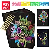 YUKKLY 50 Sheets Rainbow Scratch Paper; Scratch Art Paper; Black Doodle Pad with Rainbow Background, 5 Wooden Styluses and 4 Drawing Stencils