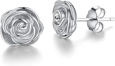 Esberry - Pendientes de plata de ley 925 chapados en oro de 18 quilates, con diseño de rosas, de tuerca, hipoalergénicos, para mujeres y niñas