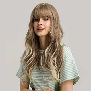 22 inch Long Synthetic Wigs with Bangs Heat Resistant Fiber Natural Wave Cosplay Daily Light Brown Hair Wigs for Women