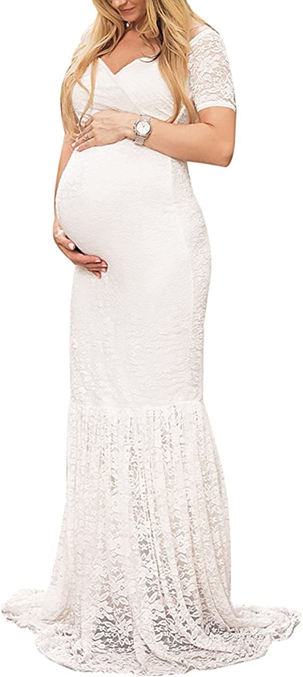 Women's Casual Lace Mermaid Maternity Dress Off Shoulder Short Sleeve V Neck Pregnancy Slim Fit Photography Baby Shower Gowns