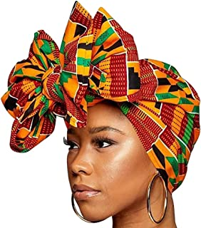 Ankara Headwrap Long Hair Head Wrap Turban and Scarf Dashiki African Print Kente and Stretch Jersey