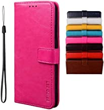 BRAND SET Case for Infinix Note 7 Lite/Infinix Hot 9 Case Wallet Style Faux Leather flip Case with Secure Magnetic Closure Lock and Bracket Function Suitable for Infinix Hot 9/Note 7 Lite(Rose red)