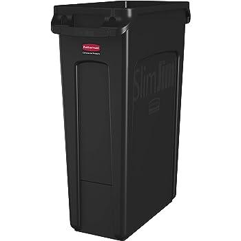 3-Pack Heavy-Duty 23 Gallon Gray Slim Restaurant Kitchen Trash Bin Garbage Can