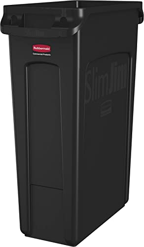 Rubbermaid Commercial Products Slim Jim Plastic Rectangular Trash/Garbage Can With Venting Channels, for Kitchen, Off...