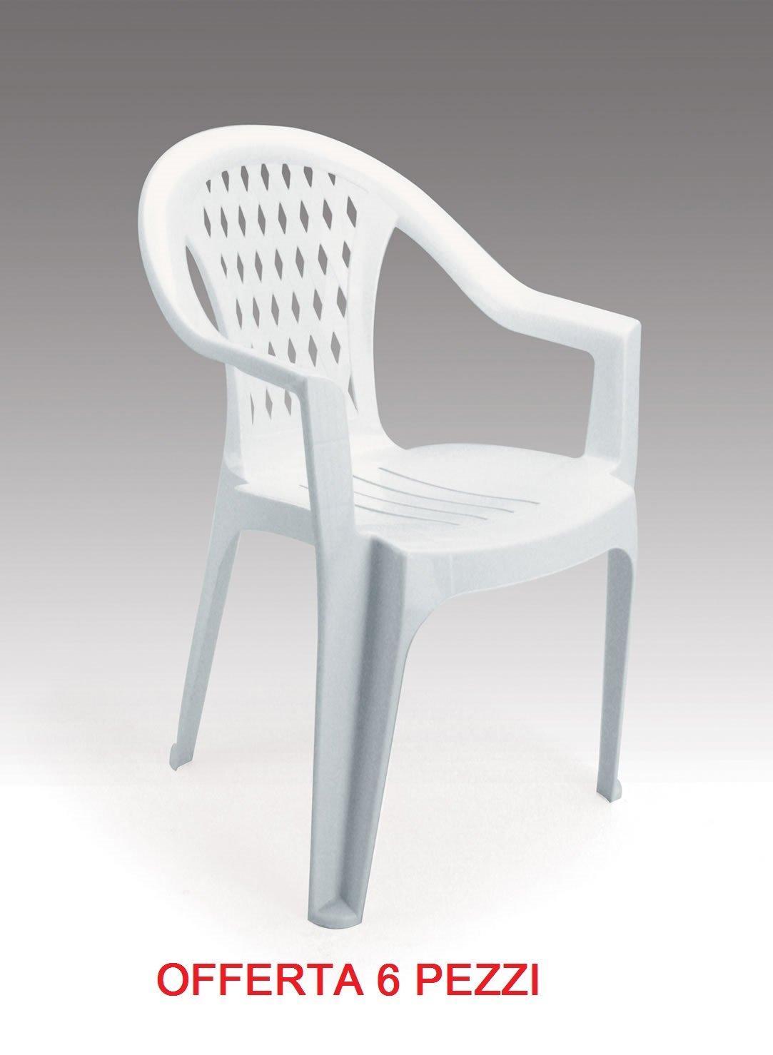 Silla sillón de jardín económica de plástico/resina Pack de 6 unidades oferta: Amazon.es: Jardín