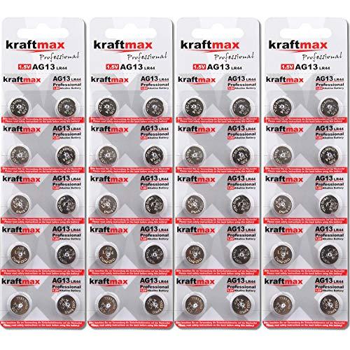 Kraftmax - Lote de 40 pilas de botón tipo 357 (AG13 / LR1154 / LR44) de alto rendimiento / batería de reloj de 1,5 V para aplicaciones profesionales - última generación