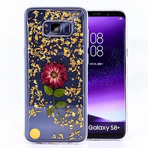COOVY® Funda para Samsung Galaxy S8 + Plus SM-G955F / SM-G955FD de Delgada Silicona de TPU, Brillante y reluciente Funda con Coloridas Flores secas artesanales | diseño Diseño 02