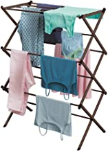 mDesign Tall Vertical Foldable Laundry Drying Rack - Compact, Portable and Collapsible for Storage - Large Capacity, expands to 29.5 Inches, Bronze