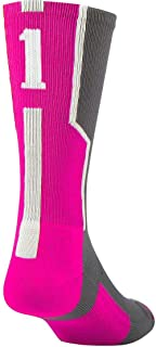 Player Id Number Crew Sock - Pink/Graphite/White