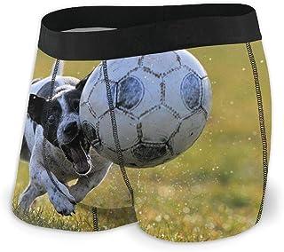 TYHG - Calzoncillos para hombre, diseño de perro pequeño jugando fútbol