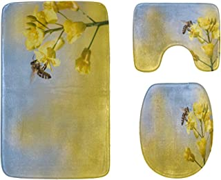 Honey Bee Pollinate Yellow Flower Bathroom Rug Mats Set 3-Piece,Soft Shower Bath Rugs,Contour Mat and Toilet Seat Lid Cove...