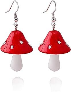 Ceramic Mushroom dangle drop earrings