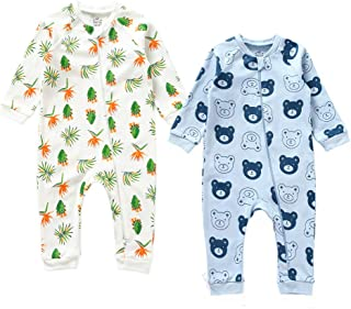 Unisex Baby Long Sleeves Snap-up Rompers Cute Print Cotton Outfit Jumpsuit Set, 2-Pack