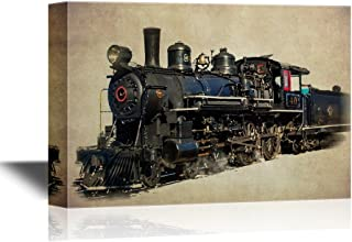wall26 - Tank Engine Canvas Wall Art - Vintage Train on Abstract Background - Gallery Wrap Modern Home Decor | Ready to Hang - 24x36 inches