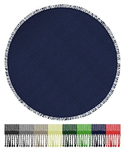 Brandsseller Gartentischdecke Tischdecke - wetterfest und rutschfest für Garten, Balkon und Camping - Rund 140 cm - Farbe: Blau