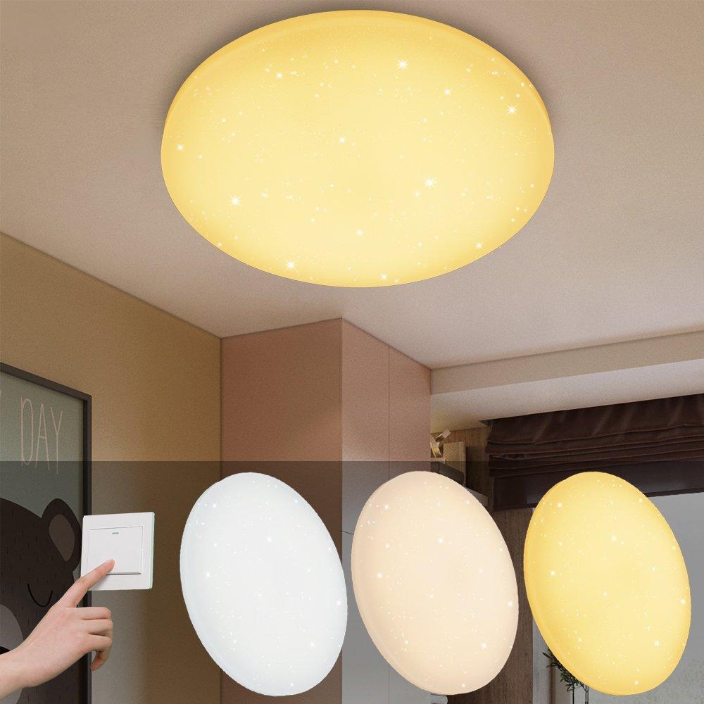 VINGO® 6W LED Deckenbeleuchtung rund Deckenlampe Starlight Effekt schön  Wohnraum Wohnzimmer Farbwechsel Lampe