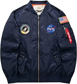 Honiee Men's Bomber Flight Jacket with Patches (US L, Navy)