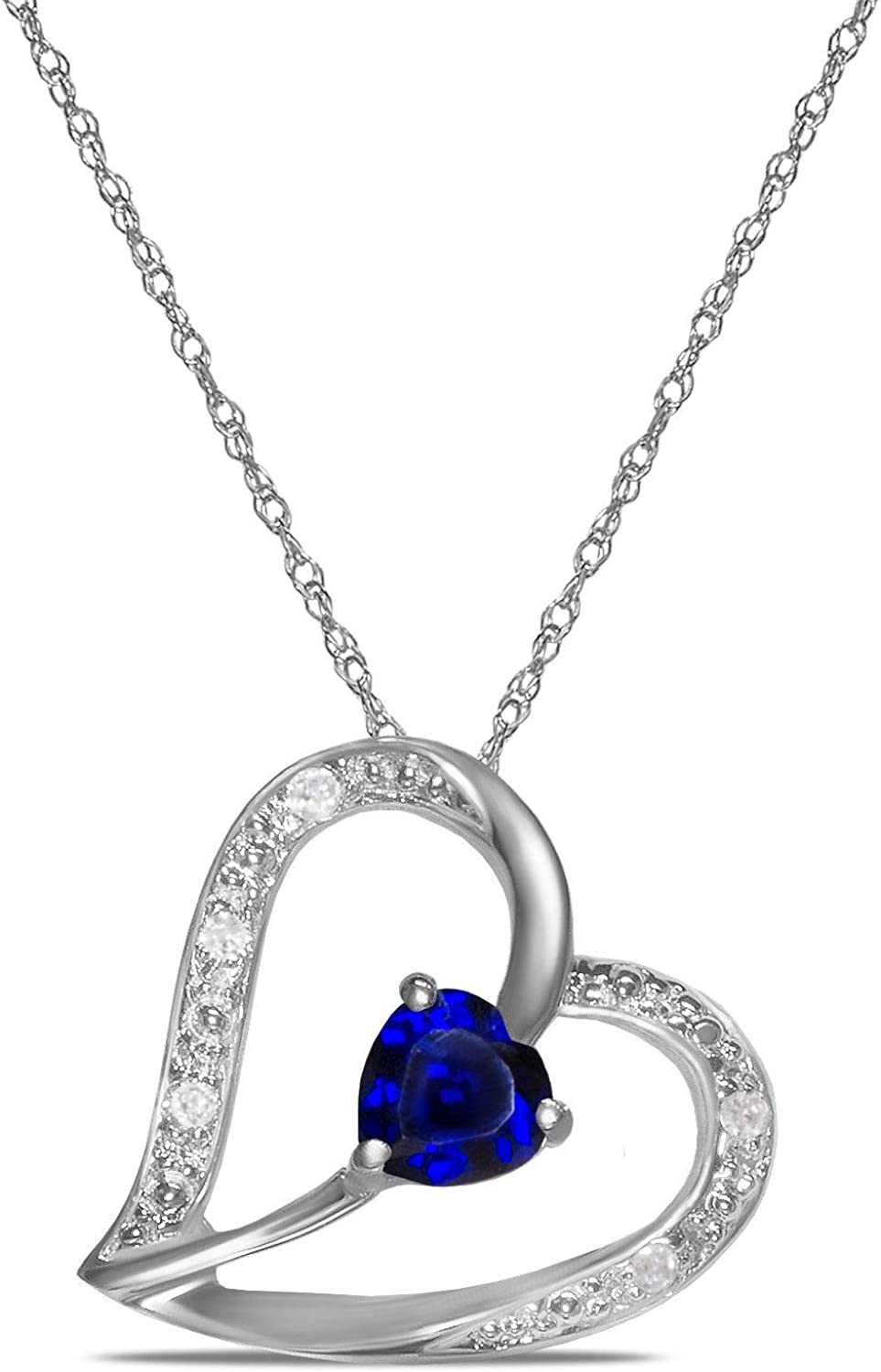Royal Jewelz Diamond Accent Tilted Heart Pendant Necklace with Heart shape Lab-Created Gemstone in 10k White or Yellow Gold. Comes with 10k Gold Chain.