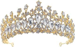 XUNXI Cerchio per Capelli, Cristallo Vintage Regina Reale re diademi e corone Uomo/Donna Spettacolo diadema Ornamenti per ...