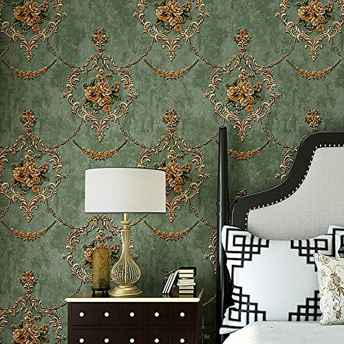 Blooming Wall Textured Vintage Damasks Floral Pattern Wallpaper Wallcoverings for Walls, 57 Square ft/Roll (Green(Flower))