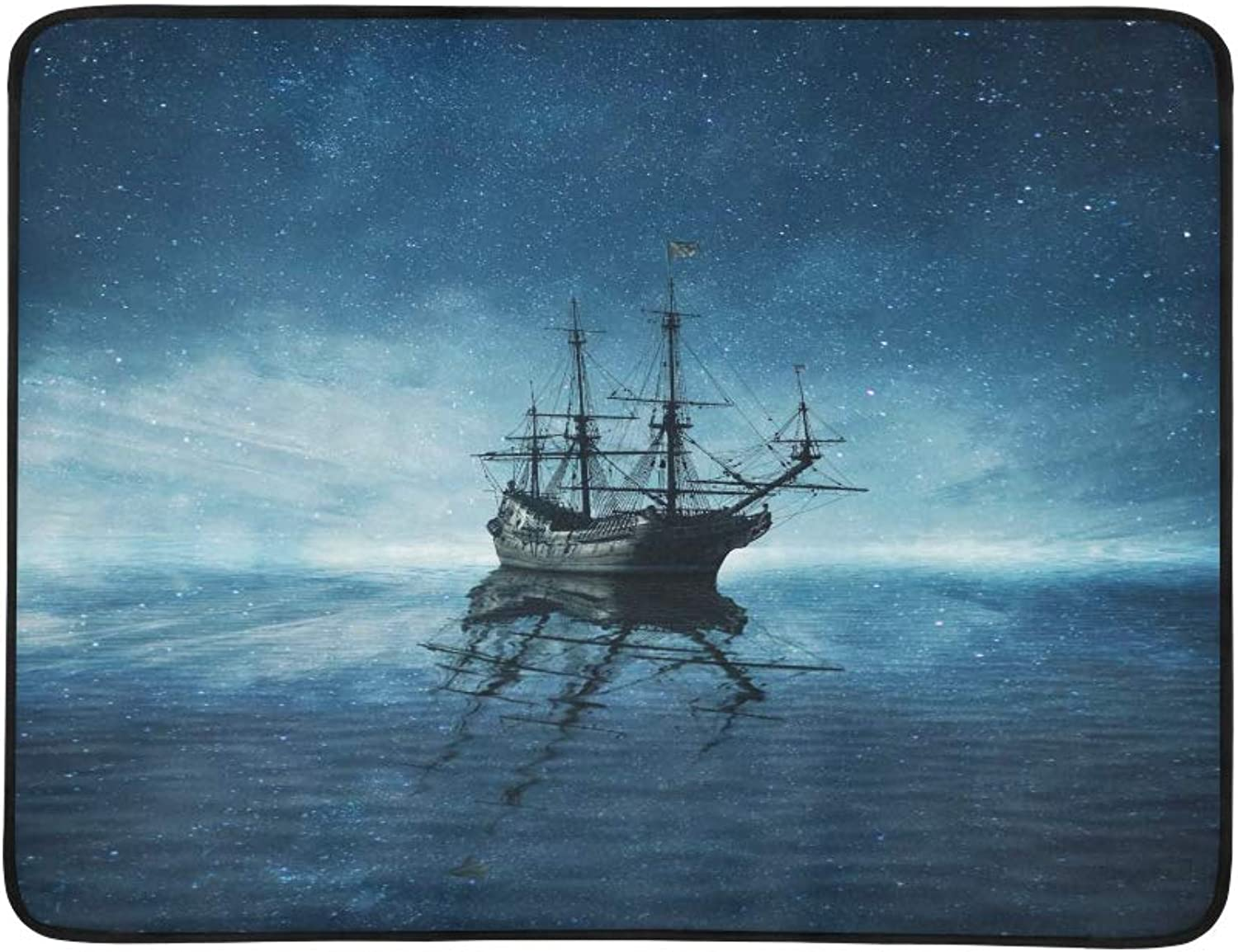 A Ghost Pirate Ship Floating On A Cold Dark blueee S Pattern Portable and Foldable Blanket Mat 60x78 Inch Handy Mat for Camping Picnic Beach Indoor Outdoor Travel