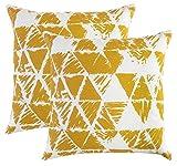 TreeWool, (Lot de 2) Housses de Coussin décoratives avec motif à Triangle géométrique (40 x 40 cm, Moutarde)