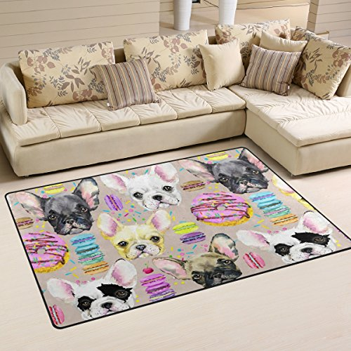Yochoice Non-Slip Area Rugs Home Decor, Stylish Watercolor French Bulldog Puppy Dog Floor Mat Living Room Bedroom Carpets Doormats 31 x 20 inches
