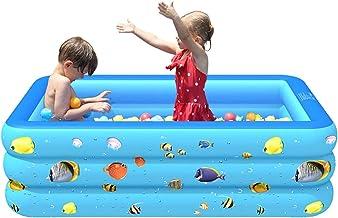 WJXBoos Familia Piscinas Hinchables,Completo-tamaño Piscinas Inflables,Adultos Niños Piscinas para Niños,Al Aire Libre Interior Piscinas Hinchables Infantiles Azul 210x130x55 Cm
