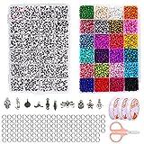 Abalorios Pulseras,Perlas de Colores,Kit de Cuentas para Pulseras,Perlas para Manualidades ,Diy Pulseras,Abalorios para Hacer Pulseras,Mini Cuentas Abalorios
