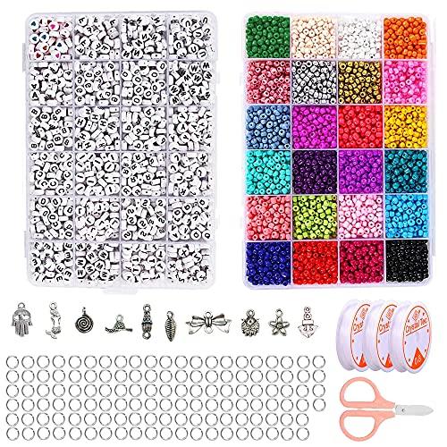 Abalorios Pulseras,Perlas de Colores,Kit de Cuentas para Pulseras,Perlas para Manualidades ,Diy...