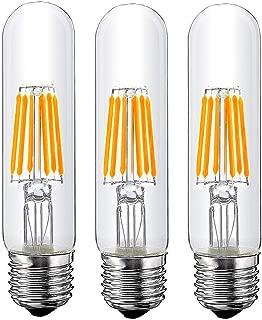 T10 6W Tubular LED Bulb, Dimmable Led Edison Bulb,Led Filament Bulb, T10 Nostalgic Led Bulb, E26 Medium Base, 60 Watt Bulb Equivalent, 2700K Warm White,550LM,Clear Glass Cover, 3-Pack