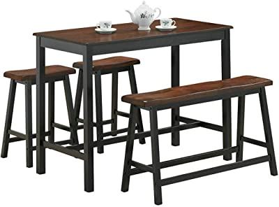 Phenomenal Amazon Com Tribesigns Dining Table With Two Benches 3 Gmtry Best Dining Table And Chair Ideas Images Gmtryco