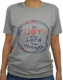 Tee Tribe Grey Christian Dry-Fit T-Shirt with Joy of the Lord Text and Trendy Modern Graphic Art. Perfect Active Wear for ...