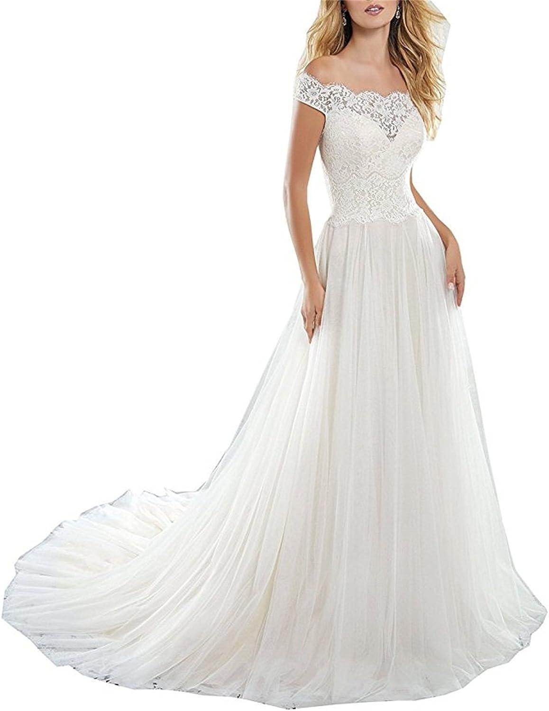 XYHDTQ Women's Simple Vintage Off Shoulder Lace Tulle Wedding Dress for Bride