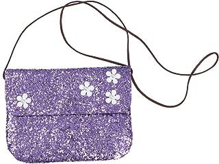 FENICAL Crossbody Bag Sequin Coin Purse Mini Flower Messenger Glitter Cellphone Purse for Kids Girls (Purple)