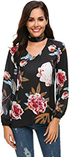 Estyle Fashion Women Floral Print V-Neck Collar Casual Loose Tops Long Sleeve Blouse