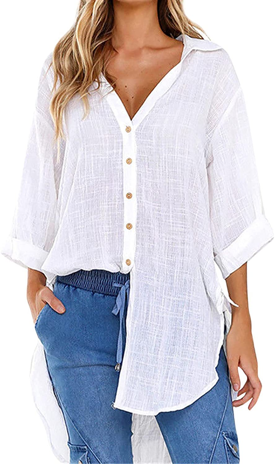 Women's Button Down V Neck Shirts Long Sleeve Blouse Roll Up Cuffed Sleeve Casual Work Plain Tops